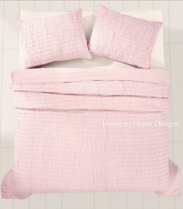 PRETTY PINK 2pc Twin QUILT SET : GIRLS RUFFLED COTTAGE RUCHED ROCHELLE SHABBY
