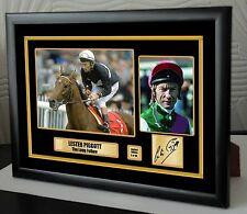 "Lester Piggott Limited Edition Framed Canvas Tribute Print Signed ""Great Gift"""