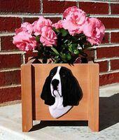 Basset Hound Planter Flower Pot Black White
