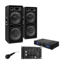 Set Dj Casse Pa Amplificatore Set Professionale Mixer Microfono USB SD MP3 2000W