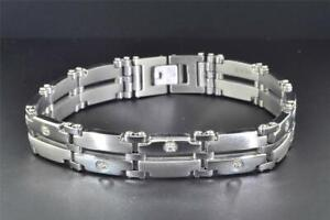 Stainless Steel Diamond Bracelet Mens W/14k White Gold Accents 8.5 inch