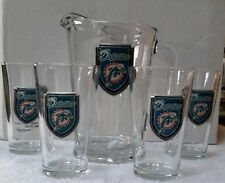 Miami Dolphins 60oz Beer & Beverage Glass Pitcher & 4 glass set (Great American)
