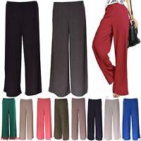 Femmes Uni sarouel Plazo Jambe Large Pantalon Évasé Leggings grande taille