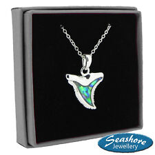 Sharks Tooth Necklace Paua Abalone Pendant Silver Fashion Jewellery Gift Boxed