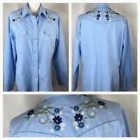 Roper~Women's Size XL~Shirt~Blue~Western~Embroidered~Pearl Snap~Long Sleeve~
