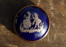 Bonbonnière boîte porcelaine Limoges bleu de four Fragonard Vintage trinket box