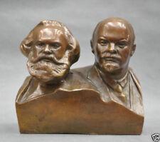 6'' Great Communist Marx And Lenin Bust Bronze Statue