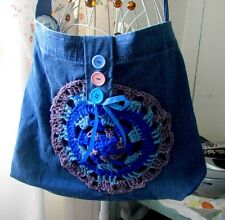 HANDMADE FABRIC +CROCHETED BLUE BAG BAG LENGTH 15 BAG DEPTH 15 SPECIAL PATTERN