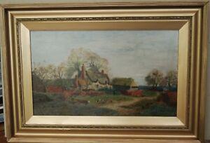"""Impressionist Farmyard Landscape by """"D.H. Barrett 1918"""""""