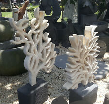 Coral sculpture hand carved, stone/concrete, indoor/outdoor, unique, beach decor
