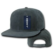 Charcoal Gray 6 Panel Blank Solid Flat Bill Corduroy Snapback Baseball Cap Hat