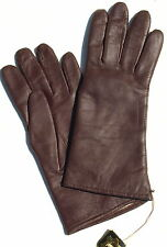 Gloves Leather Ladies Finger Padded Knitted Lined dk.rot Aubergine 7 M