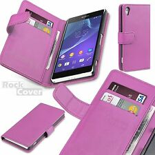 Sony Xperia Z2  Executive Leather Case Card Holder Wallet Retro Pink