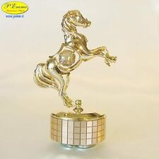 CAVALLO RAMPANTE SU BASE GIREVOLE MUSICALE GOLD CRYSTOCRAFT SWAROVSKI ELEMENTS