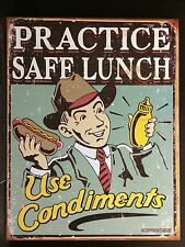 Practice Safe Lunch Funny TIN SIGN Diner Hot Dog Metal Bar Vtg Wall Decor Poster
