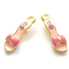 4 Enamelled 20mm Shoes Charms with Rhinestone Jewellery Making