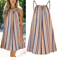 Womens Boho Sleeveless Loose Summer Beach Mini Dress Plus Size Holiday Sundress