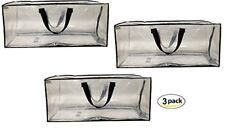 Clear Storage Bags Heavy Duty Extra Large Transparent Moving Totes (Set of 3)