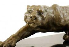 Tierfigur aus Bronze - XXL Panther auf Marmor - signiert Milo