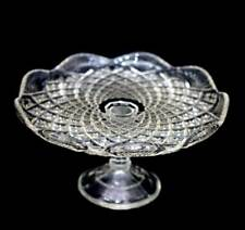 Vintage clear depression pressed glass tazza comport cake stand