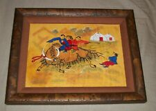 TOOLED LEATHER CRAFT ART MONGOL RIDING MONGOLIAN YAK BULL YURT GER PICTURE FRAME