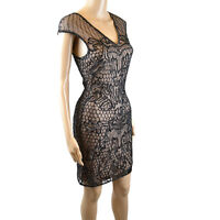 MISS SELFRIDGE RRP £100 BLACK MESH SEQUIN EMBELLISHED BODYCON  PARTY DRESS