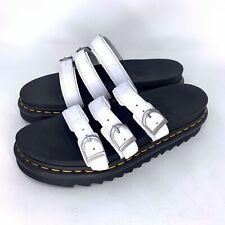 Dr Martens White Leather Blaire Slide Flatform Sandals Women's Size 10 Doc Docs