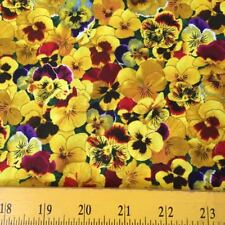 Elizabeth's Studios Lovely Pansies Fabric Gold Yellow Brown for Quilts Totes