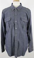 Harley Davidson Men's Shirt Long Sleeve Blue Color Sz 2XL XXL Front Pockets