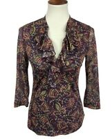 Chaps Women's Size S Stretch Knit Floral V-Neck Ruffle Top Semi Sheer Fitted