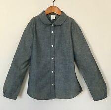 J Crew JCREW Crewcuts Girls Blue Chambray Shirt With Rounded Collar 10 Years EUC
