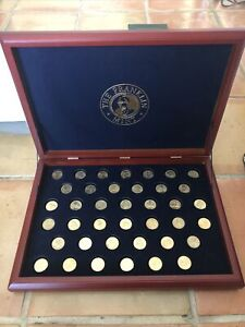 PRESIDENTIAL COIN COLLECTION The Franklin Mint - 24 KT Gold Plated - 39 Coins