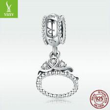 925 Sterling Silver Bead Princess Crown Charm CZ Pendant For Fashion Bracelet