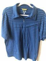 Men's MOUNTAIN HARDWARE Short Sleeve 1/4 Zip Polo Shirt-Blue Stripe-Size Large