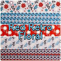 Fabric Freedom Blue Red Retro Floral 100% Cotton Patchwork Craft Dress Fabric