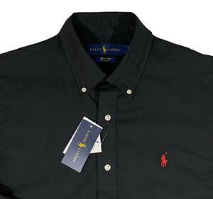 Men's RALPH LAUREN Black Shirt Cotton Stretch Large L NWT NEW WoW!