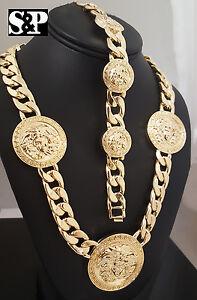 Men's Iced Medusa Head 5 Medallion Cuban Link Chain Necklace & Bracelet Set