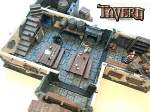 2x Tavern Tables w/Benches! for D&D Pathfinder 100%Handmade Terrain Miniatures