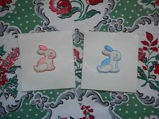 Cute vintage sew on fabric patches, appliques, motifs - sitting rabbits, bunnies