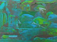 "SEASCAPE ABSTRACT Original Palette Knife Oil Painting 9""x12"" Julia Garcia Art"