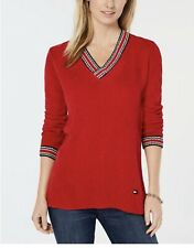TOMMY HILFIGER WOMENS RED CHENILLE V-NECK LOGO SWEATER XXL NWT MSRP $79