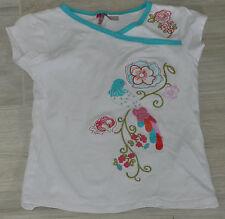 449 - T-shirt MC 4 ans blanc fantaisie fleurs oiseau ORCHESTRA
