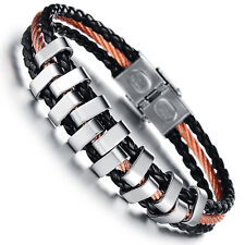 Mens Unisex Gold Copper Stainless Steel Black PU Leather Bracelet G79