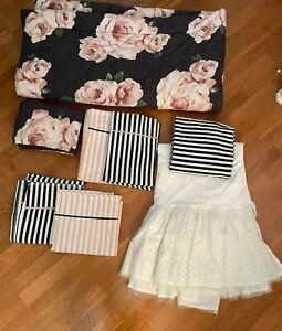PB Teen Emily & Meritt Bed of Roses Comforter, Sham, Sheets, and Skirt FULL
