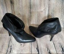 "Womens MILANO Black Leather Ankle slip on  Boots 4"" Heel Sz US 8 /38 Euro Brazil"