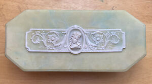 Vintage Incolay Art Nouveau Cameo Jewelry Box Large Green And White