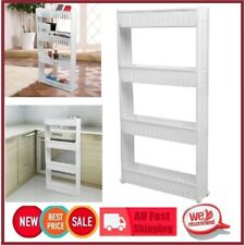 4 Tier Slim Slide out Storage Tower With Wheels Rolling Castor Kitchen Trolley