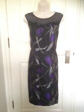 Jacques Vert Black Purple Sheer Illusion Neck Shift Cocktail Party Dress 12