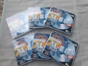 6 x Maxell Audio CD-RW Jewel Case ReWritable Recordable Blank Music 80 Min Disc