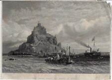 """Stanfield's """"THE ROYAL YACHT OFF MOUNT ST. MICHAEL"""" - Steel Engraving - c1850"""